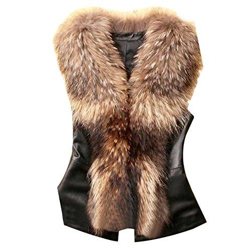 KEBINAI Womens Vest Winter Warm Hoodie Outwear Casual Coat Faux Fur Zip Up Jacket