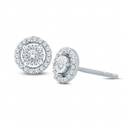 1/10 cttw Round Diamond Illusion Set Solitaire Halo Stud Earrings Women 925 Sterling Silver(I-J/I3)