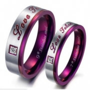 "Jeulia ""Love Token"" Titanium Steel Couple Ring"