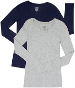 2 Pack Active Basic Women's Basic Long Sleeve V-Neck Tee Med Navy, H Gray
