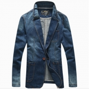 Denim Jean Blazers Men's Suit Jackets Fit Casual Blazers