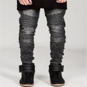 2017 Hot Sale Mens Motard Lean Jeans Hi- Torn Rider Denim Jeans Motorcycle Track Slim Fit Washed Motorcycle Denim Pants Joggers