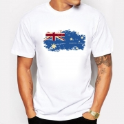 2017 New Summer Australia Flag Men T shirts 100% Cotton Short Sleeve T-shirts Nostalgia Australia Flag Style Fitness Tshirts