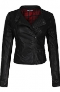 2LUV Women's Slim Tailoring Faux Leather Zipper Moto Biker PU Bomber Jacket Black Red S.