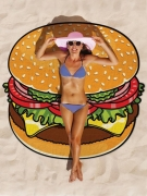 Cartoon Food Printed Swimming Cover Up Round Beach Blanket