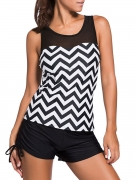Black White Racerback Zigzag Striped Swim Top