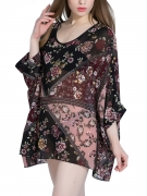 Floral Printed Hollow Out Round Neck Batwing Sleeve Tunic
