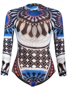 Band Collar Printed One Piece With Long Sleefe