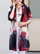 Awesome Collarless See-Through Printed Kimono