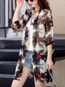 Collarless Hollow Out Printed Kimono