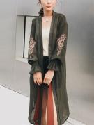 Embroidery Puff Sleeve Chiffon Longline Kimono