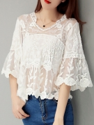Best Deal On V-Neck Embroidery Kimono Sleeve Tunic