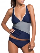 Deep V-Neck Racerback Color Block Tankini