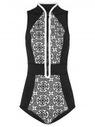 Band Collar Patchwork Zips Printed One Piece