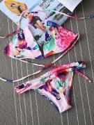 Colorful Halter Printed Triangle Bikini