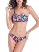 Delightful One Shoulder Floral Printed Bikini
