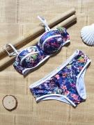 Contrast Trim Floral Push Up Bikini