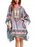 Colorful Boat Neck Tassel Printed Oversized Tunic