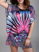 Colorful Round Neck  Printed  Batwing Sleeve Tunic