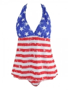 Halter  Back Hole US Flag Printed Swimwear