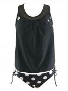 Asymmetric Neck  Hollow Out Polka Dot Swimwear