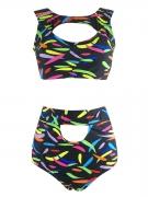 Colorful Round Neck  Cutout  Printed Bikini