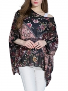 Floral Printed Chiffon See-Through Batwing Sleeve Tunic