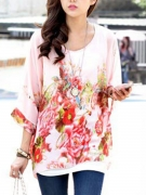 Floral Printed See-Through Chiffon Batwing Sleeve Tunic