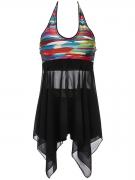 Halter  Asymmetric Hem Patchwork  Printed Swimwear