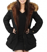 Valuker Women's Down Coat With Fur Hood