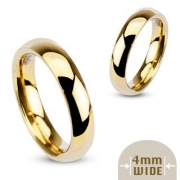 4MM High Polished Stainless Steel Gold Plated Wedding Band – Crazy2Shop