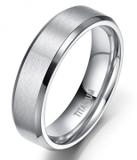 6mm Unisex Titanium Ring Flat Matte Brushed Beveled Edge Wedding Band Comfort Fit Size 4-13 (titanium, 9)