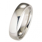 6mm White Tungsten Carbide Polished Classic Wedding Ring Size 9.5
