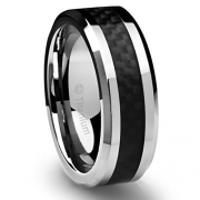 8MM Men's Titanium Ring Wedding Band Black Carbon Fiber Inlay and Beveled Edges [Size 11]