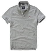 Abercrombie Men's Stretch Icon Polo Shirt Tee, Size L, Heather Grey (625790145).