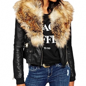Women's Classic Faux Fur Collar PU Leather Zip Up Jacket.
