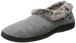ACORN Women's Faux Chinchilla Collar Slipper , Black, Large/8-9 W US.