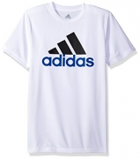 Adidas Big Boys' Clima Performance Logo Tee, White, L