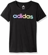 adidas Big Girls' Short Sleeve Graphic Tee Shirts, Black, S