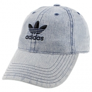 adidas Men's Originals Relaxed Strap back Cap, Washed Blue Denim, One Size