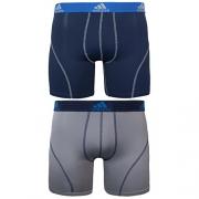 adidas Men's Sport Performance Climalite Boxer Brief Underwear (2 Pack), Night Indigo/Light Onyx, Large/Waist Size 36-38