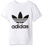 adidas Originals Tops | Big Boys' Kids Trefoil Tee, White/Black, Large