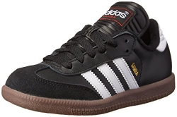 adidas Samba Classic Leather Soccer Shoe (Toddler/Little Kid/Big Kid),Black/ White,6 M US Big Kid