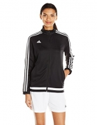 adidas Women's Soccer Tiro 15 Training Jacket, Black/White/Black, Small