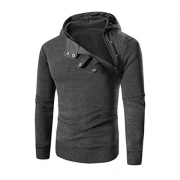 AIMTOPPY Men Retro Long Sleeve Hoodie Hooded Sweatshirt Tops Jacket Coat Outwear (XXXL, Dark Gray)