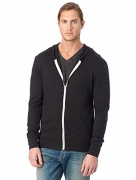 Wantdo Men's Warm Sweatshirt Sherpa Lined Hooded Cotton Fleece Slim Hoodie Jacket Black Large