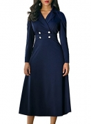 Alvaq Womens Fall Fashion 2017 Clothing 1950s A Line Long Sleeve Knee Length Vintage Work Midi Dresse Navy Blue – Womens Skirt Best Price