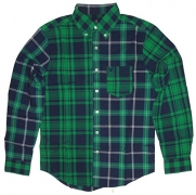 American Eagle Men's Long Sleeve Patchwork Button Down Shirt Green Plaid (Small)