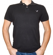 American Eagle Outfitters Mens Classic Fit Mesh Solid Polo T-shirt (Medium, Black)