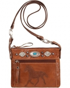 American West Women's Trail Rider Crossbody Bag Brown One Size.